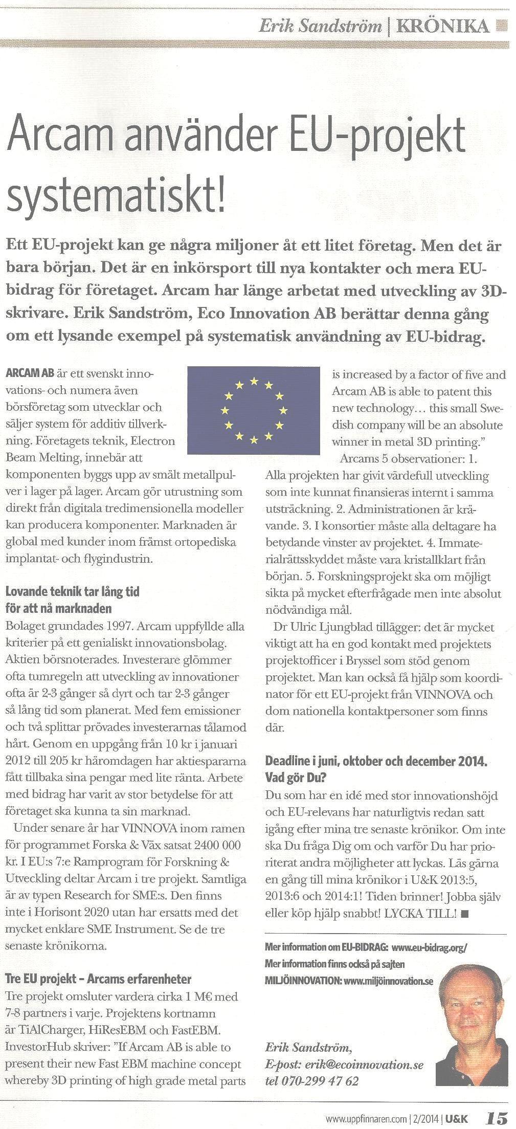 Systematiskt arbete med EU-bidrag hos Arcam