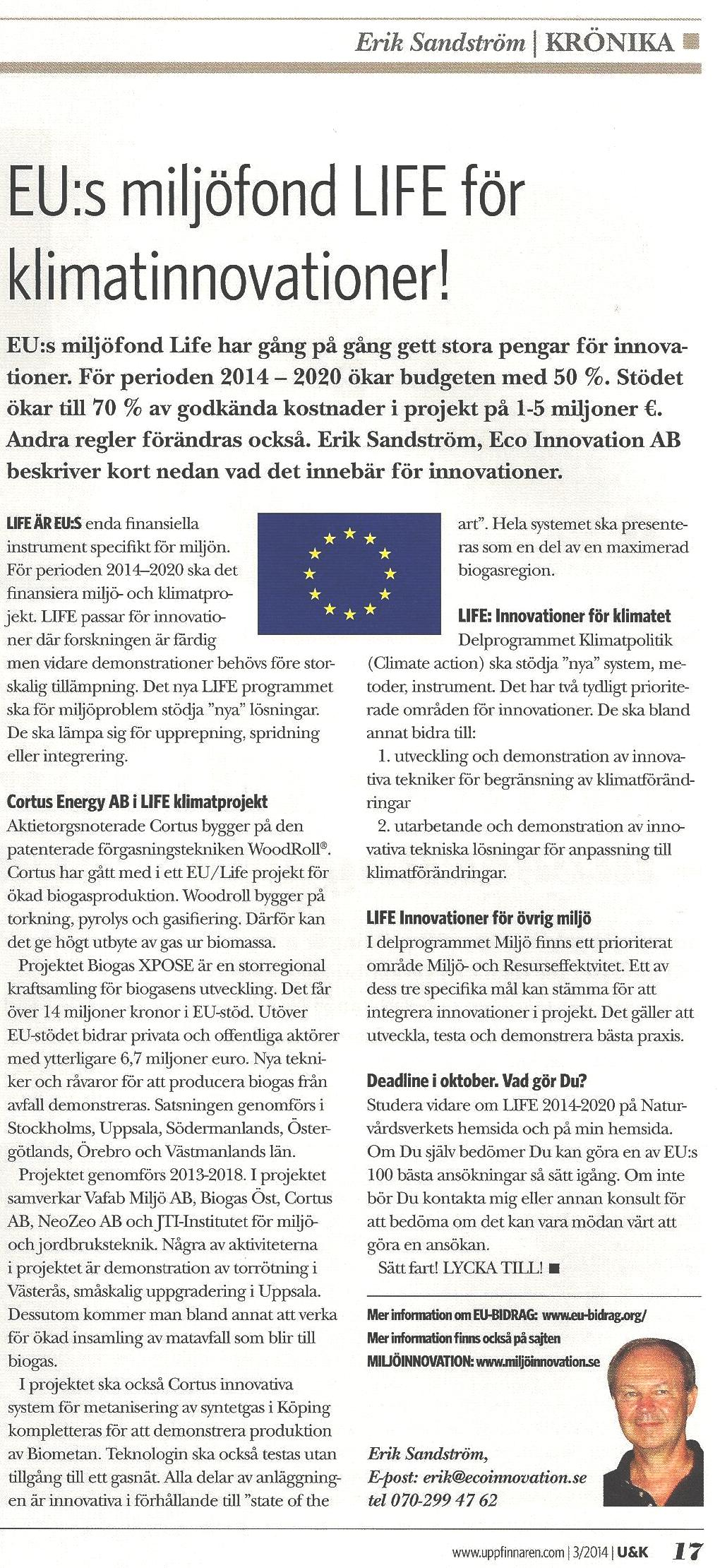 EU:s miljöfond LIFE för bl.a. klimatinnovationer